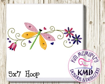 Embroidery Delicate Dragonfly with Flowers: Size 5x7, Instant Download, KMDemb Machine Embroidery Design