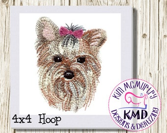 Embroidery Sketch Yorkie Dog: Size 4x4, Instant Download, KMDemb Machine Embroidery Design
