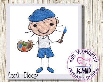 Embroidery Artist Stick Girl: Size 4x4, Instant Download, KMDemb Machine Embroidery Design