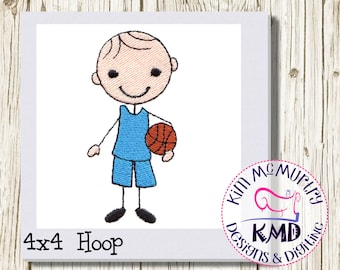 Embroidery Stick Boy Basketball Player: Size 4x4, Instant Download, KMDemb Machine Embroidery Design