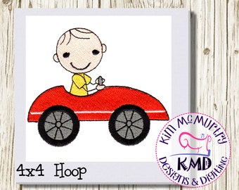 Embroidery Stick Boy in Car: Size 4x4, Instant Download, KMDemb Machine Embroidery Design