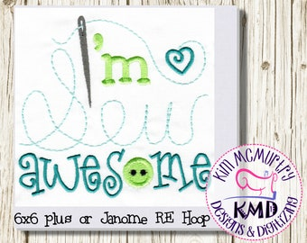Embroidery Exclusive Hand Stitch Sew Saying: Size 6x6 and up, Instant Download, KMDemb Machine Embroidery Design