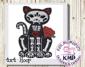 Embroidery Exclusive Mylar Skeleton Cat: Size 4x4, Instant Download, KMDemb Machine Embroidery Design