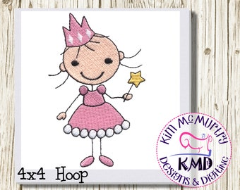 Embroidery Princess Stick Girl: Size 4x4, Instant Download, KMDemb Machine Embroidery Design