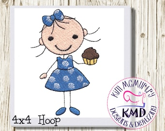 Embroidery Cupcake Stick Girl: Size 4x4, Instant Download, KMDemb Machine Embroidery Design