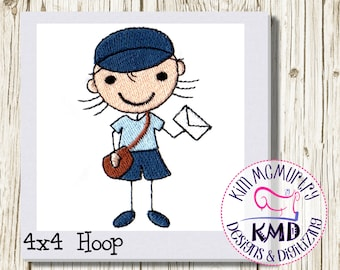 Embroidery Stick Girl Delivery: Size 4x4, Instant Download, KMDemb Machine Embroidery Design