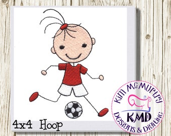Embroidery Soccer Stick Girl: Size 4x4, Instant Download, KMDemb Machine Embroidery Design