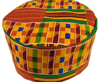 81a104cd32d Traditional Kente Kofi Hat Black History Month Cap Kufi Hat Yellow Gold 01  Size 53 to 60 cm