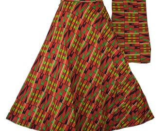 54efc6fd0fbf7 African Wax Fabric Skirt Maxi Wrap Skirt Ankara Wax Party Long Skirt  Traditional Abstract Print Women Flared Skirt Red Green Black P 15