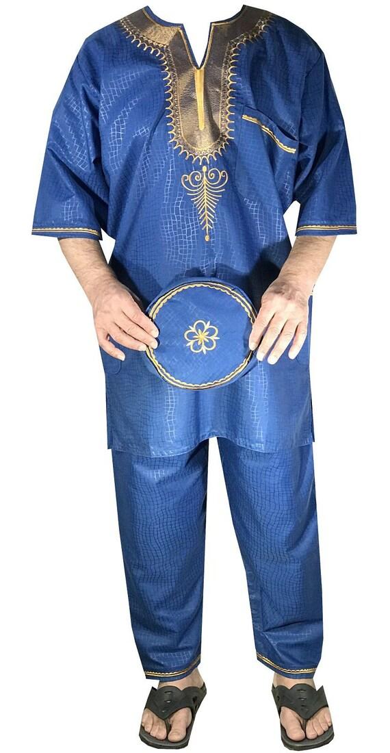 Mens 3Pcs Brocade Dashiki Pant Suit Set African Clothing boho Purple Free Size