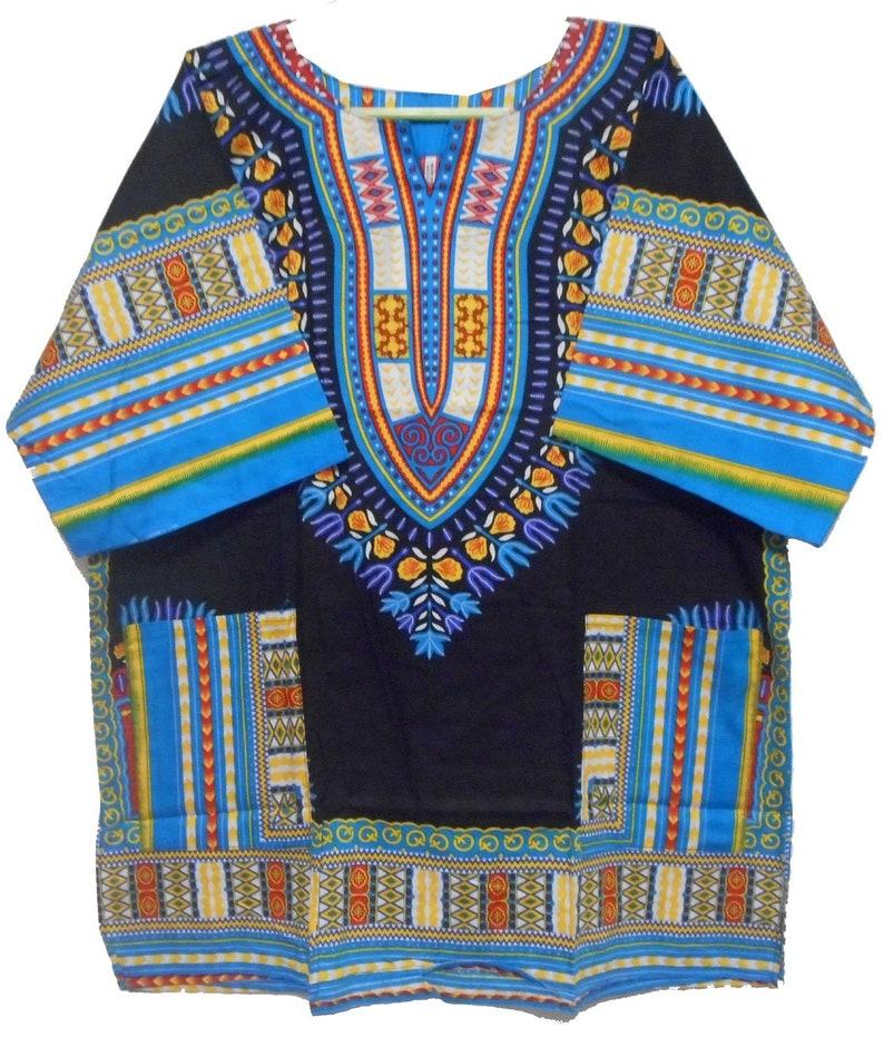 Large Size African Men Women Black Dashiki Shirt Top Blouse Hippie Tribal Caftan