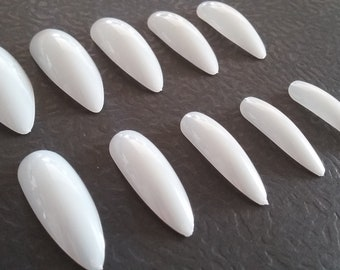 Fake nail set etsy diy artificial long nails full cover nail set for do it yourself nail art project oval stiletto ballerina clear natural set of 40 solutioingenieria Gallery