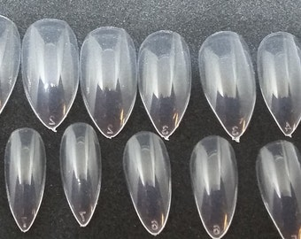 Fake nail set etsy diy artificial nails full cover nail set for do it yourself nail art project oval stiletto medium length clear natural set of 40 solutioingenieria Gallery