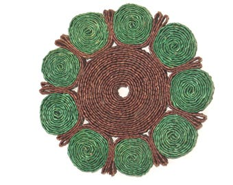Vintage 60s tablemat for pots made of bast
