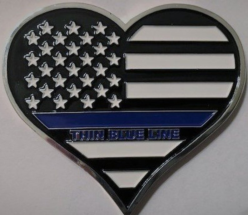 Thin Blue Line Heart Shaped Challenge Collectors Coin