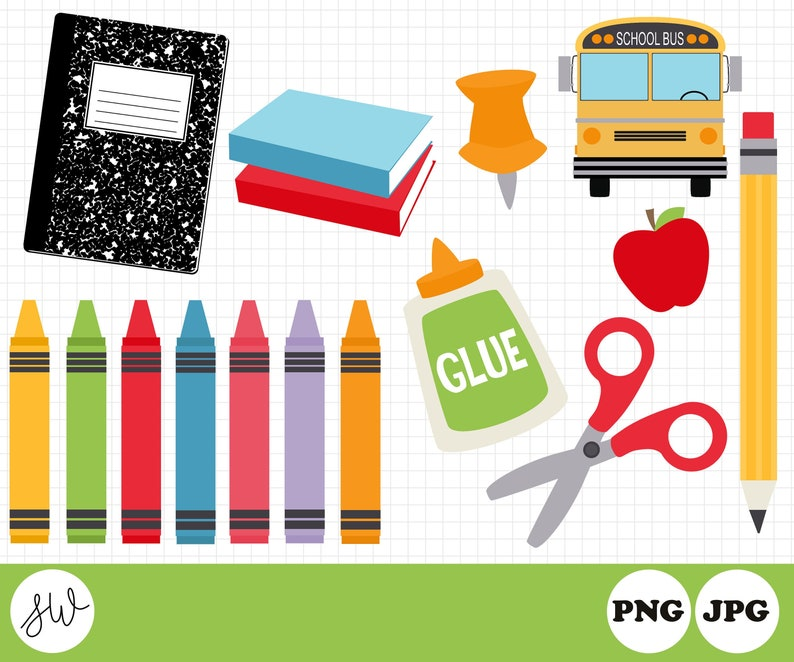 Back to School Clipart  School Supplies  Teacher Graphics  image 0