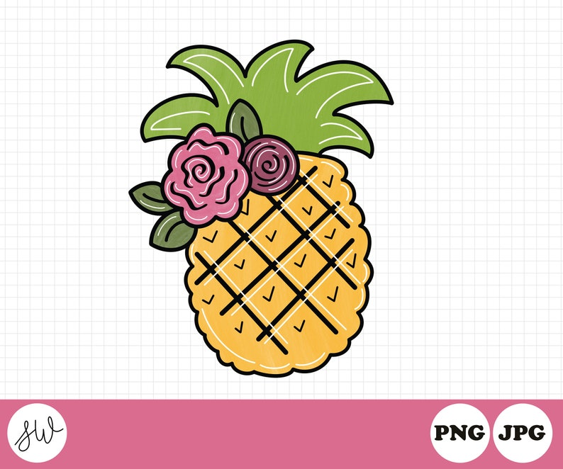Pineapple with Flowers Sublimation Design  Pineapple Clipart image 0