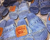 Levis denim sldes. Levis pool slides, denim slides, jean pool slides, Unicorn Denim Slides