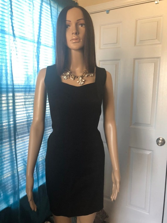 Scuba neck black mini, scuba 90s dress, scuba vint