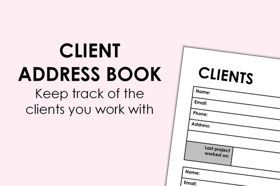 client address book printable download a4 size can be etsy