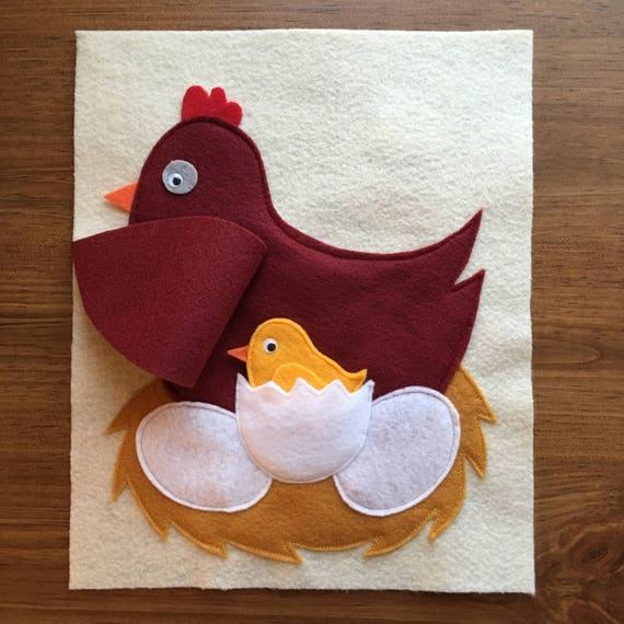 Mother Hen Quiet Book Page Baby Chick Felt Book Toddler
