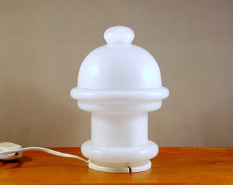 Vintage Swdish glass table lamp, white