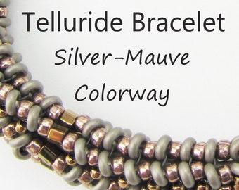 Telluride Bracelet BEAD KIT + PATTERN by Melinda Barta Silver-Mauve Colorway