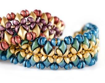 Primrose Blue/Green BEAD KIT + PATTERN for Bracelet by Melinda Barta