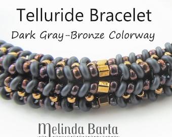 Telluride Bracelet BEAD KIT + PATTERN by Melinda Barta Dark Gray-Bronze Colorway