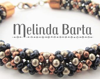 Phoenix DIGITAL PATTERN, tutorial for beaded rope bracelet by Melinda Barta with seed beads, Czech rounds, rondelles, and right-angle weave