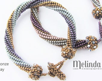 Cosmos Bracelet PATTERN + KIT, Blue & Bronze Colorway, herringbone bracelet with Swarovski crystals and peyote stitch caps
