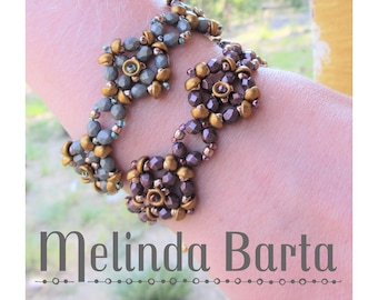 Josephine Set DIGITAL PATTERN, tutorial for beaded earrings and beaded bracelet by Melinda Barta with Teacups, seed beads, and fire polish
