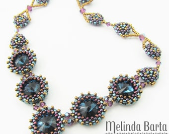 Manhattan DIGITAL PATTERN tutorial for beaded necklace with peyote stitch and Swarovski crystals
