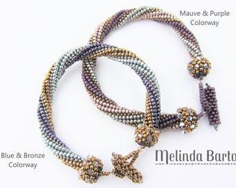 Cosmos Bracelet PATTERN + KIT, Mauve & Purple Colorway, herringbone bracelet with Swarovski crystals and peyote stitch caps