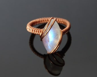 6d85bf7026 Moonstone copper wire ring. Moonstone ring, Wire wrapped ring, unique ring,  elven ring, wire weave ring, copper ring, unique ring, gemstone