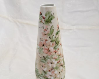 Hand Painted Porcelain 10 inch Vase with Pink and Green Flower Design