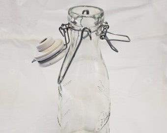 Glass Mason Bottle With Porcine Top