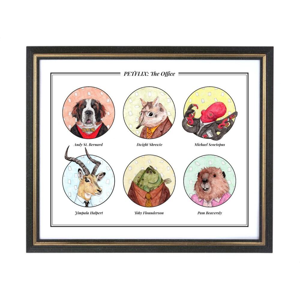 PETFLIX / The Office / Animal Pun TV Characters Illustration /   Etsy