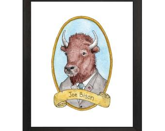 Joe Bison / Animal Pun Illustration / Watercolor & Ink / PreZOOdents / Joe Biden