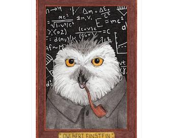 Owlbert Einstein Greeting Card - Wild Idols - Albert Einstein