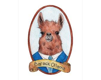 Barack Ollama PreZOOdents Greeting Card - Punny Animal Presidents - Barack Obama