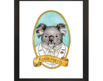 Koala Harris / Animal Pun Illustration / Watercolor & Ink / PreZOOdents / Kamala Harris