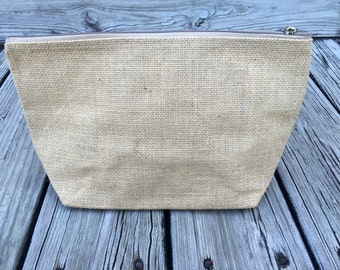 Large Burlap Cosmetic Bag