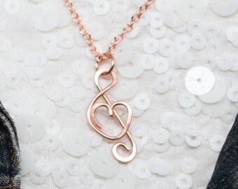 I Love Music Necklace, Treble Clef with Heart Pendant Handmade in Solid Copper