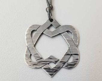 You Want It Darker medium dark version/ Unified Heart / Leonard Cohen / Two Hearts Silver Necklace