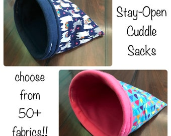 Cuddle Sack - Stay Open - Snuggle Sack - Hedgehog - Guinea Pig Cuddle Sack - Stay Open Cuddle Sack - Guinea Pig Bed - Pet Bed - Burrow Pouch