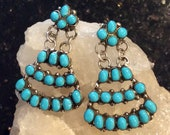 Zuni Native American Indian Jewelry Sterling Silver Sleeping Beauty Turquoise Earrings