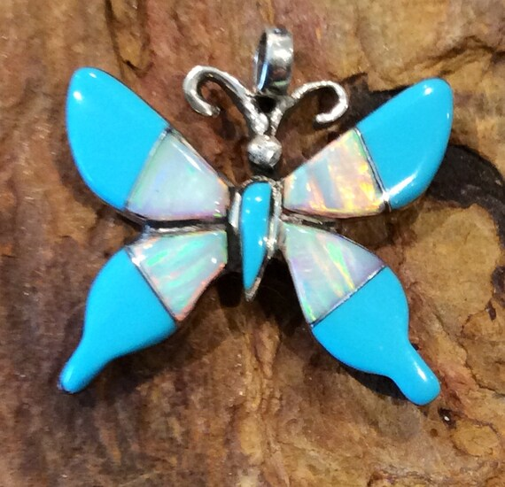 Native Butterfly inlay Turquoise White Fire Opal sterling silver pendant