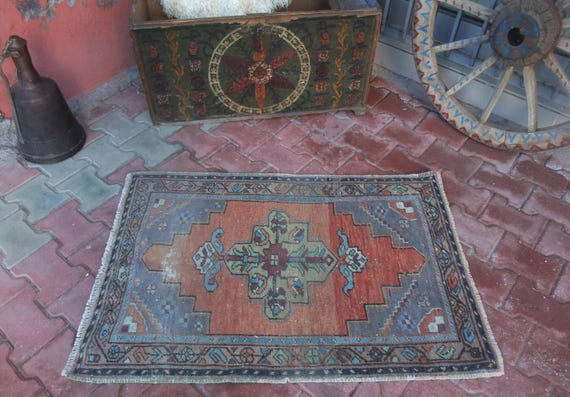 Low Pile Distressed Primitive Area Rugvintage Turkish Etsy