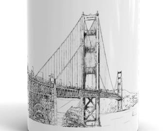 San Francisco Ink Drawing Mug   California Mug   Golden Gate Coffee Mug   San Francisco Coffee Mug   Golden Gate Bridge Coffee Mug